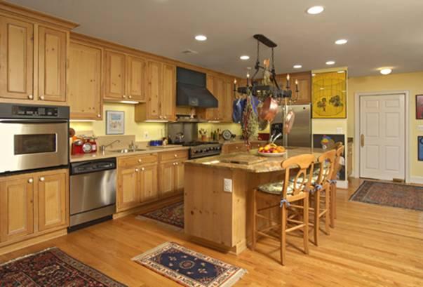 The large kitchen provides plenty of room for a wheelchair to navigate around the center island, should the need arise.